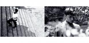 (L) shirt Mauro Grifoni - trousers, & shoes Emporio Armani - hat Borselino - belt Costume National. (R) jacket Maison Martin Margiela - v-neck top Massimo Rebecchi - shirt Gazzarrini - scarf Emporio Armani