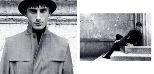 (L) coat & turtleneck Calvin Klein - hat Emporio Armani. (R) sweater Emporio Armani - shirt Gazzarrini - trousers Costume National - shoes Maison Martin Margiela