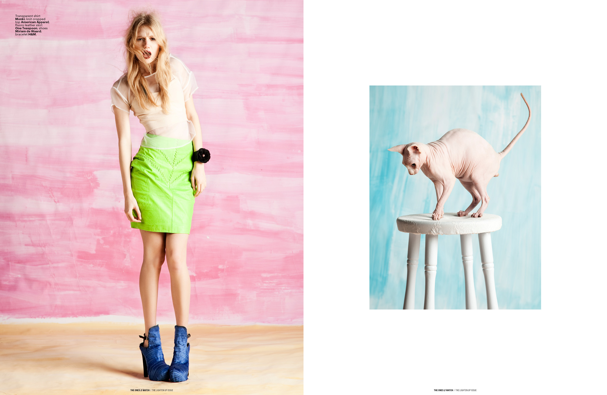 Left: Transparent shirt Monki; knit cropped top American Apparel; fluoro leather skirt One Teaspoon; shoes Miriam de Waard; bracelet H&M.