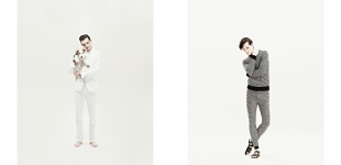 Left: Suit Walter Van Beirendonck; button down Various Projects. | Right: All Henrik Vibskov.