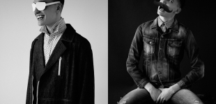 Left: Striped button down shirt Folk; paisley button down shirt Fred Perry; denim coat Richard Chai. Right: All Nudie Jeans.