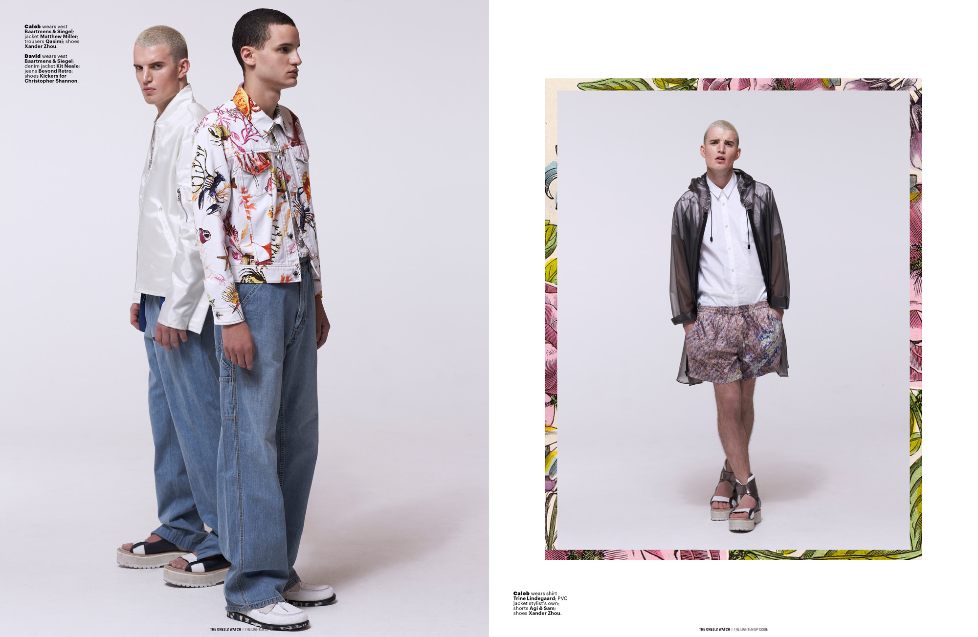 Left: Caleb wears vest Baartmens & Siegel; jacket Matthew Miller; trousers Qasimi; shoes Xander Zhou.  David wears vest Baartmens & Siegel; denim jacket Kit Neale; jeans Beyond Retro; shoes Kickers for Christopher Shannon. <br />Right: Caleb wears shirt Trine Lindegaard; PVC jacket stylist's own; shorts Agi & Sam; shoes Xander Zhou.