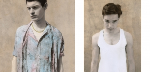 Left: Wilson wears shirt Paul Smith, necklace stylist's own. Right: Jed wears tank top Dior Homme.