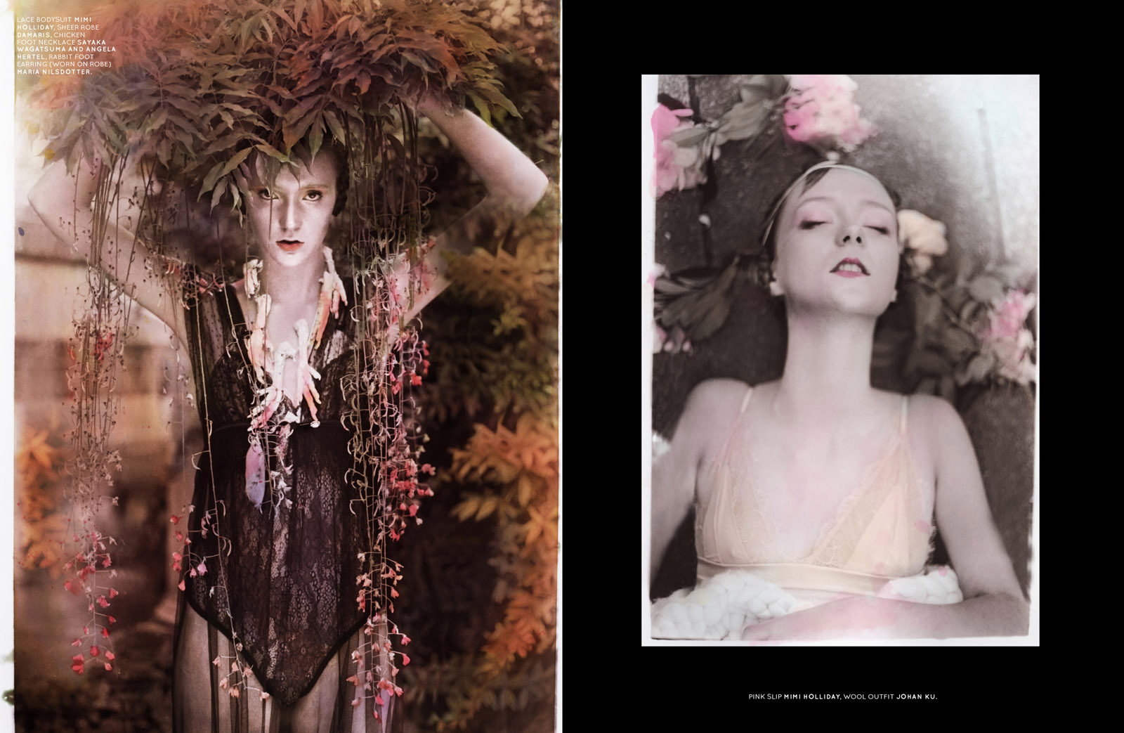 Left: lace bodysuit mimi Holliday, sheer robe damaris, chicken foot necklace Sayaka Wagatsuma and Angela Hertel, rabbit foot earring (worn on robe) Maria Nilsdotter. Right: Pink slip Mimi Holliday, wool outfit Johan Ku.