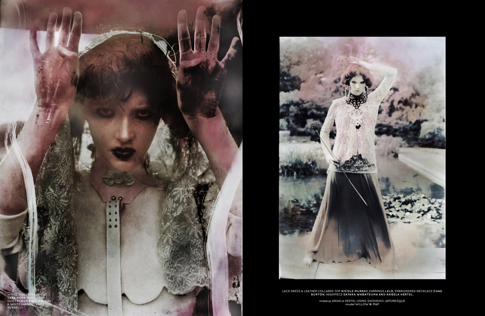 Left: white scalloped dress Taka Naka, nude mesh shirt Fyodor Golan, pink & white harness Naza Yusefi. Right: lace dress & leather collared top Nicole Murray, earrings Lelo, embroidered necklace Chad Burton, headpiece Sayaka Wagatsuma and Angela Hertel.