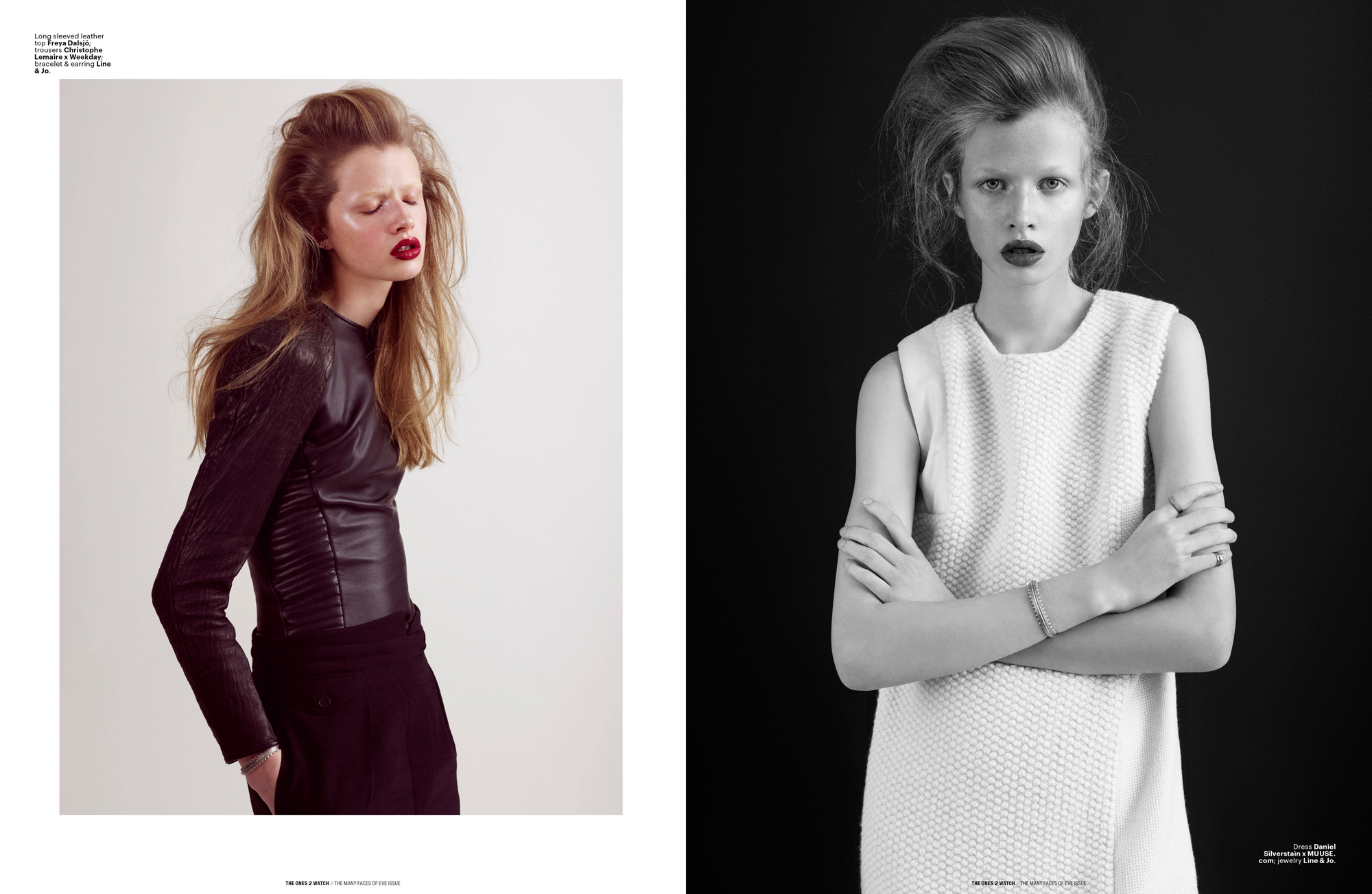 Left: Long sleeved leather top Freya Dalsjö; trousers Christophe Lemaire x Weekday; bracelet & earring Line & Jo. | Right: Dress Daniel Silverstain x MUUSE.com; jewelry Line & Jo.