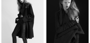 Left: Coat Maison Martin Margiela x H&M; leather pants Inwear. | Right: Coat Rick Owens at www.nagpeople.com; ring Line & Jo.