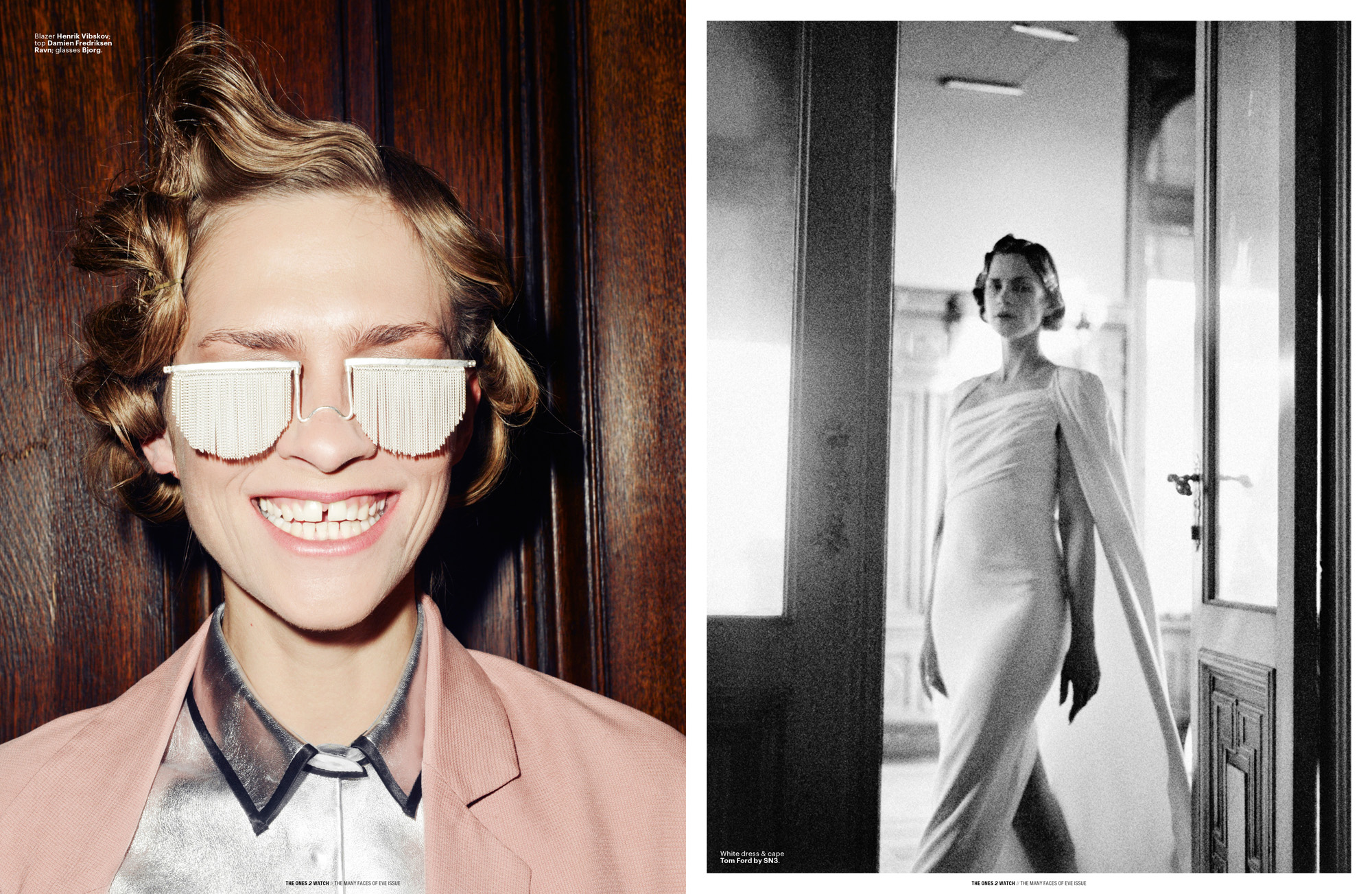 Left: Blazer Henrik Vibskov; top Damien Fredriksen Ravn; glasses Bjorg. | Right: White dress & cape Tom Ford by SN3.