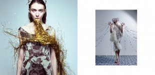 left: dress & headpiece Alexandra Grecco. right: bodysuit Grishko - dress & accessories DIY