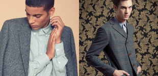 Left: Zakaria wears jacket Paul Smith - shirt Henry Cotton's. Right: Greg wears jacket Vivienne Westwood Man - shirt Z Zegna - trousers Cerruti 1881