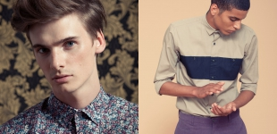 Left: Angus wears shirt Paul Smith London. Right: Zakaria wears shirt Giuliano Fujiwara - trousers Brioni