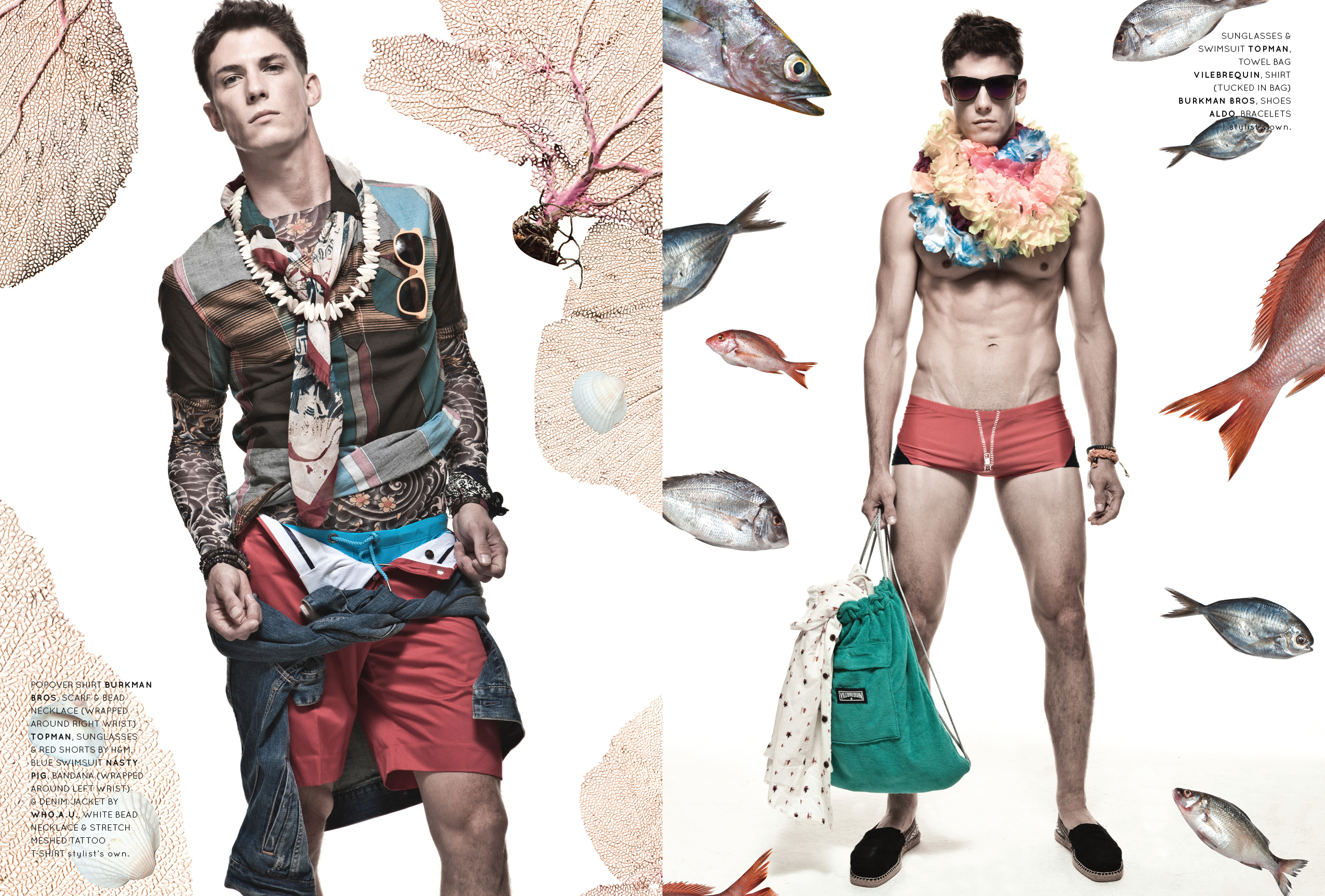 Left: popover shirt Burkman Bros, scarf & bead necklace (wrapped around right wrist) Topman, sunglasses & red shorts by H&M, blue swimsuit Nasty Pig, bandana (wrapped around left wrist) & denim jacket by Who.A.U., white bead necklace & stretch meshed tattoo t-shirt stylist's own. Right: sunglasses & swimsuit Topman, towel bag Vilebrequin, shirt (tucked in bag) Burkman Bros, shoes Aldo, bracelets stylist's own.
