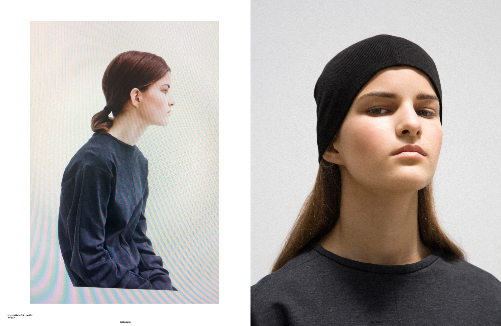 left: dress Mitchell James Wright. | right: dress Mitchell James Wright, beanie Maison Martin Margiela.