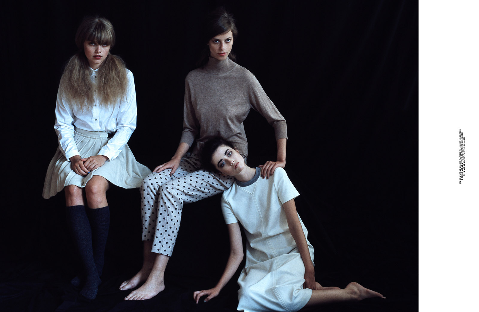 Kajsa wears shirt Cacharel - skirt Mulberry; Ralisa wears top & trousers Paul Smith; Elin wears long dress Cacharel.