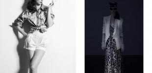 Left: shirt Etro - shorts Rag & Bone. Right: jacket Helmut Lang - dress Diane von Furstenberg - sunglasses Alexander Wang - earrings & gloves stylist's own.