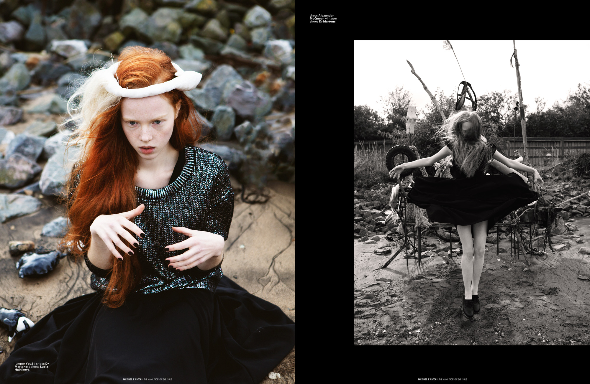 Left: jumper You&I; shoes Dr Martens; objects Lucia Hajnikova. | Right: dress Alexander McQueen vintage; shoes Dr Martens.