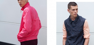 left: windbreaker K-Way, pants Acne | right: shirt Acne, vest Julian Zigerli, pants cheap Monday.