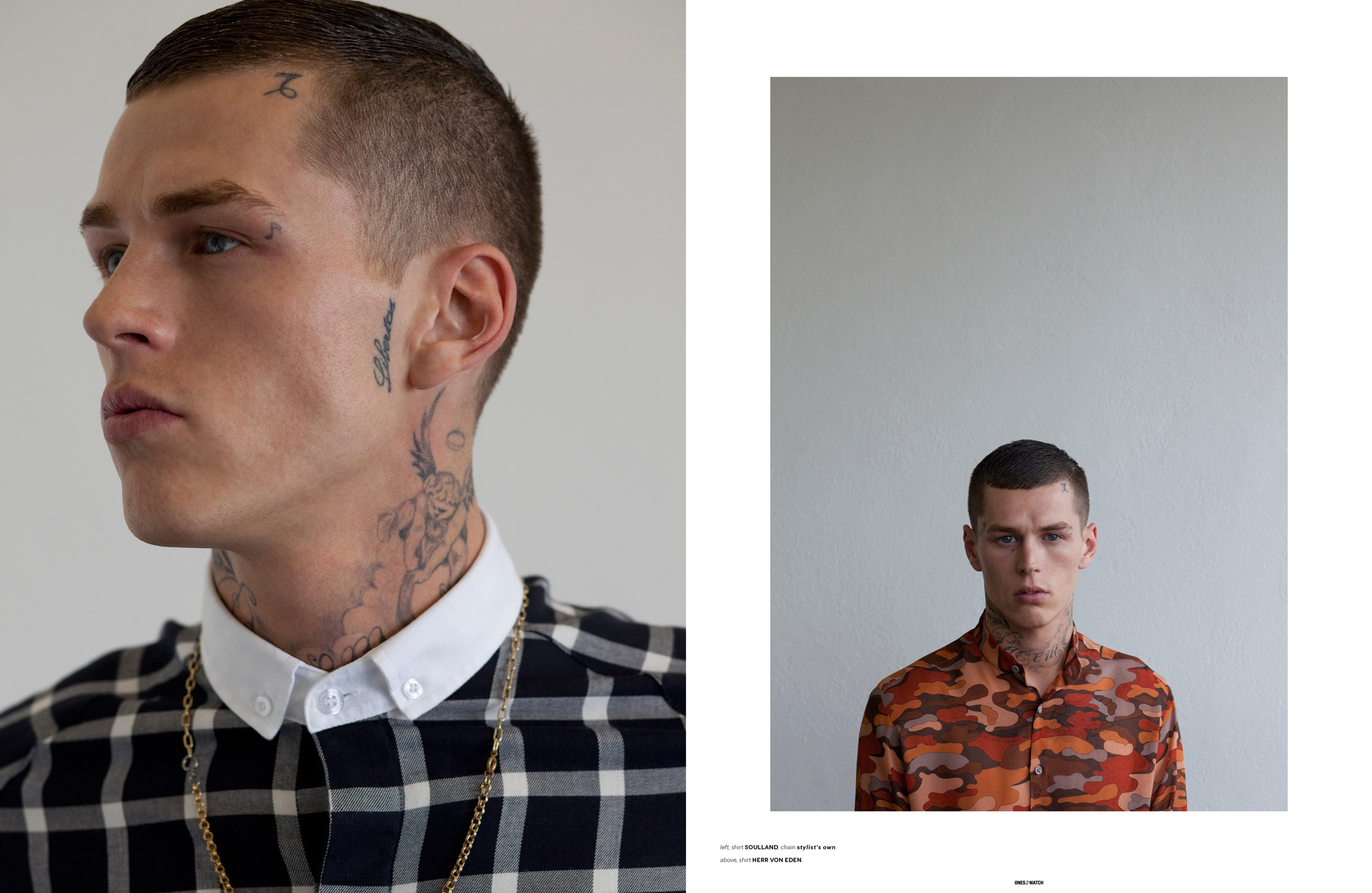 left: shirt Soulland, chain stylist's own | right: shirt Herr von Eden.