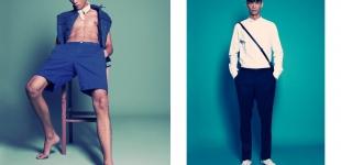Left: jacket Pepe Jeans London - shorts Topman - collar stylist's own. Right: shirt DKNY - pants Calvin Klein Jeans - bag Cerruti 1881 - shoes Converse