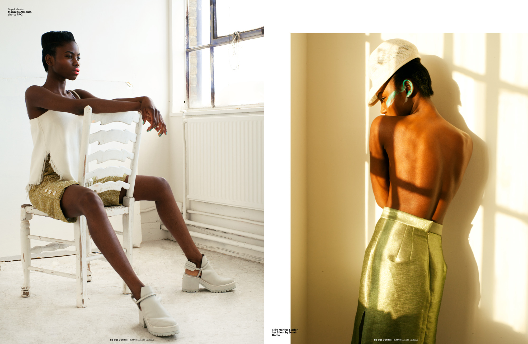 Left: Top & shoes Marques'Almeida; shorts PPQ. | Right: Skirt Markus Lupfer; hat Silent by Damir Doma.