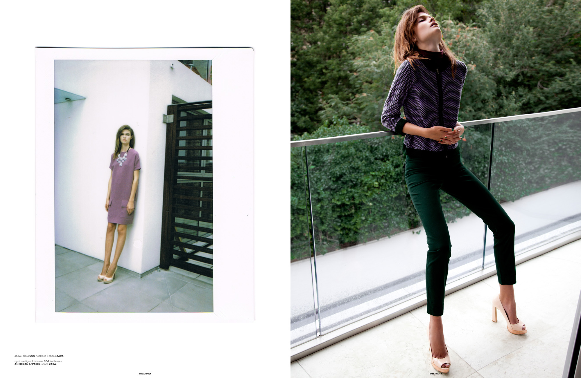 left: dress COS, necklace & shoes Zara |  right: cardigan & trousers COS, turtleneck American Apparel, shoes Zara.