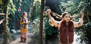 left: dress Bellerose; vest Little Marc Jacobs; boots Ash. | right: dress Bobo Choses, vest Bellerose.