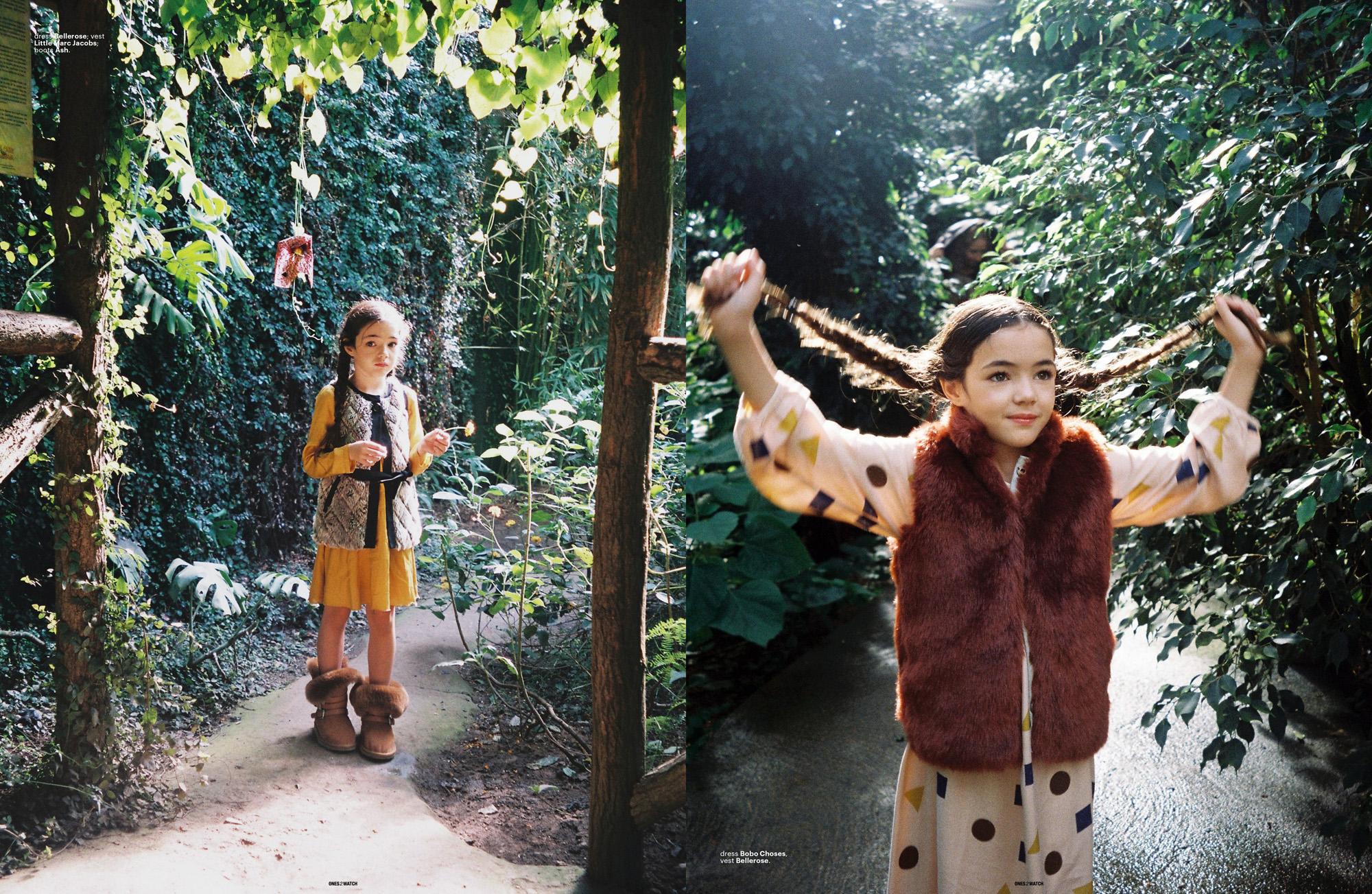 left: dress Bellerose; vest Little Marc Jacobs; boots Ash. | right: dress Bobo Choses, vest Bellerose.