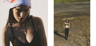 Left: T-shirt (worn on head) Supreme; bra Ksubi; shorts model's own.   Right: Bra Sass & Bide; leather pinafore/overalls Asos.
