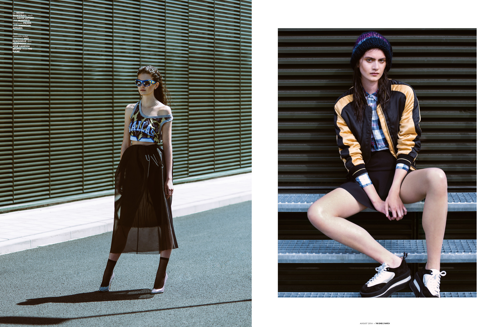 top RELISH BASKETBALL; mesh skirt DAVID LAPORT; heels MANFIELD; sunglasses PRADA; socks AMERICAN APPAREL. right: reversible jacket and beanie MES DEMOISELLE; shirt EQUIPMENT; skirt ATHÉ VANESSA BRUNO; shoes NO NAME.