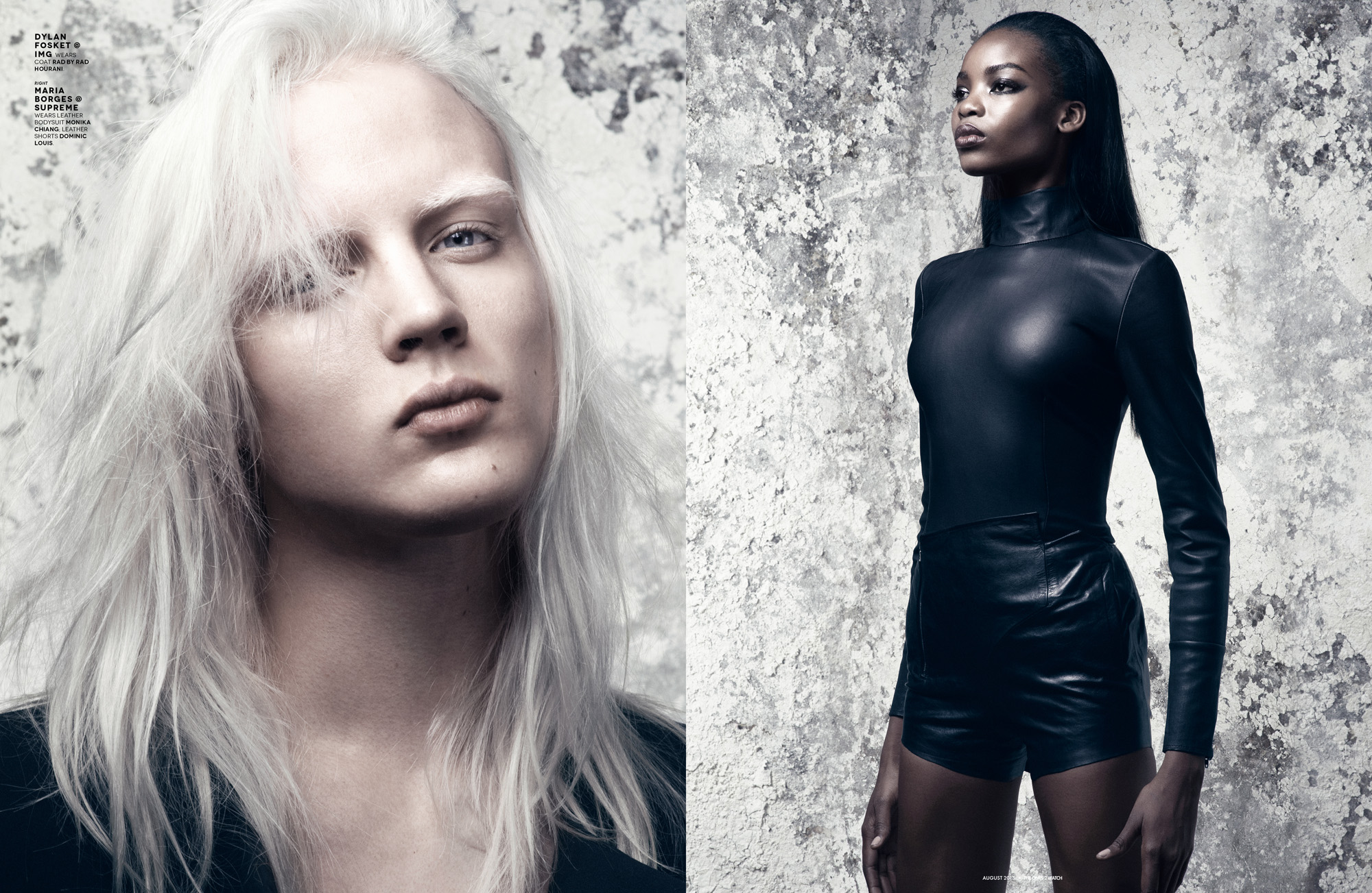 Dylan Fosket @ IMG wears coat Rad by Rad Hourani.  Right: Maria Borges @ Supreme wears leather bodysuit Monika Chiang; leather shorts Dominic Louis.