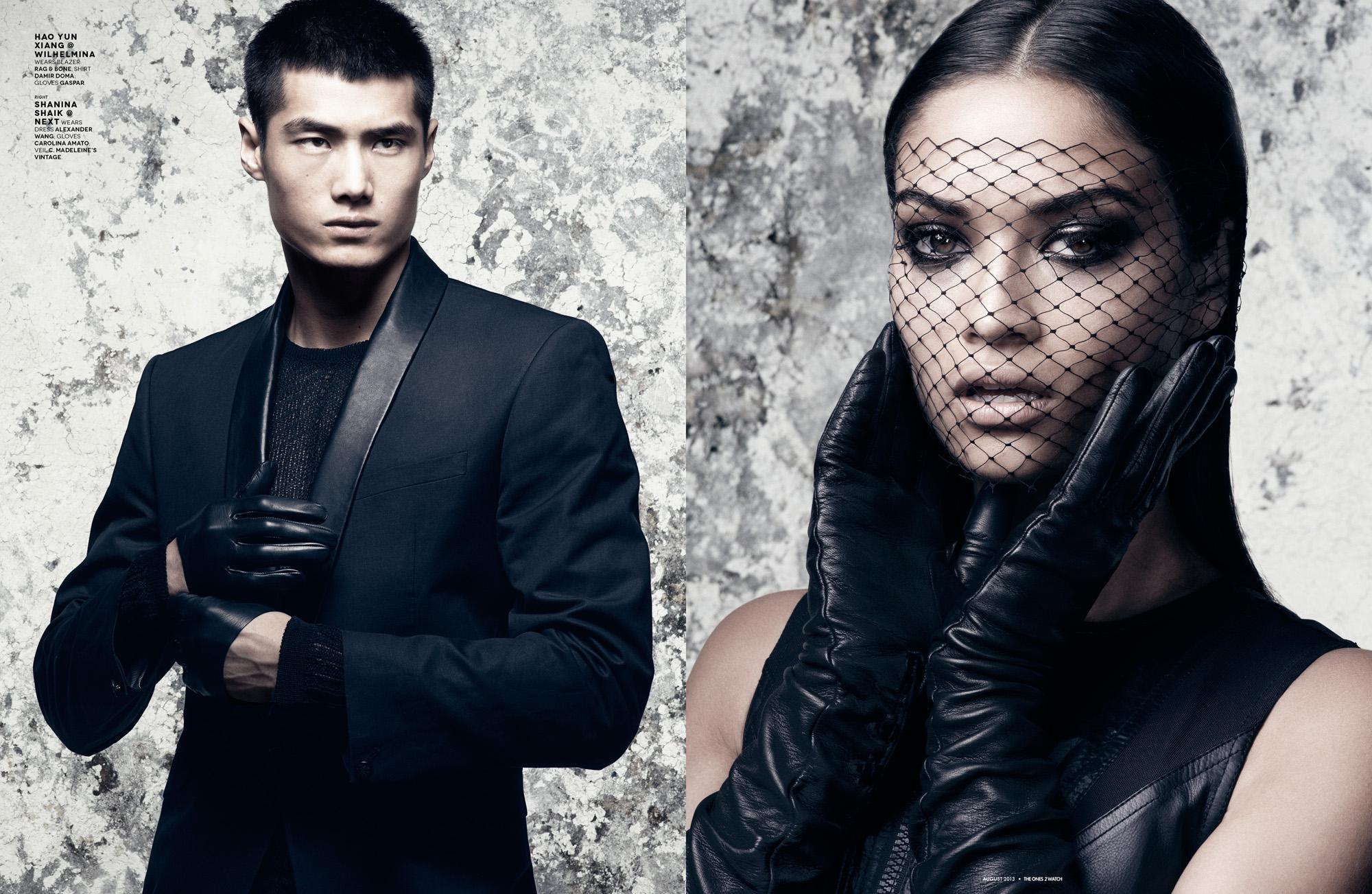 Hao Yun Xiang @ Wilhelmina wears blazer Rag & Bone; shirt Damir Doma; gloves Gaspar.  Right: Shanina Shaik @ Next wears dress Alexander Wang; gloves Carolina Amato; veil C. Madeleine's Vintage.
