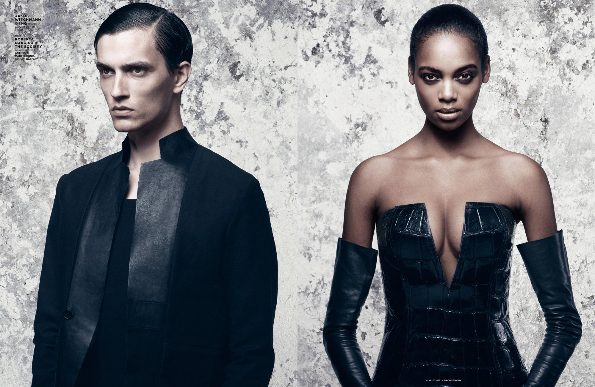 Jakob Wiechmann @ IMG wears blazer & shirt Siki Im.  Right: Roberta Narciso @ The Society wears corset Anthony Manfredonia; gloves Gaspar.