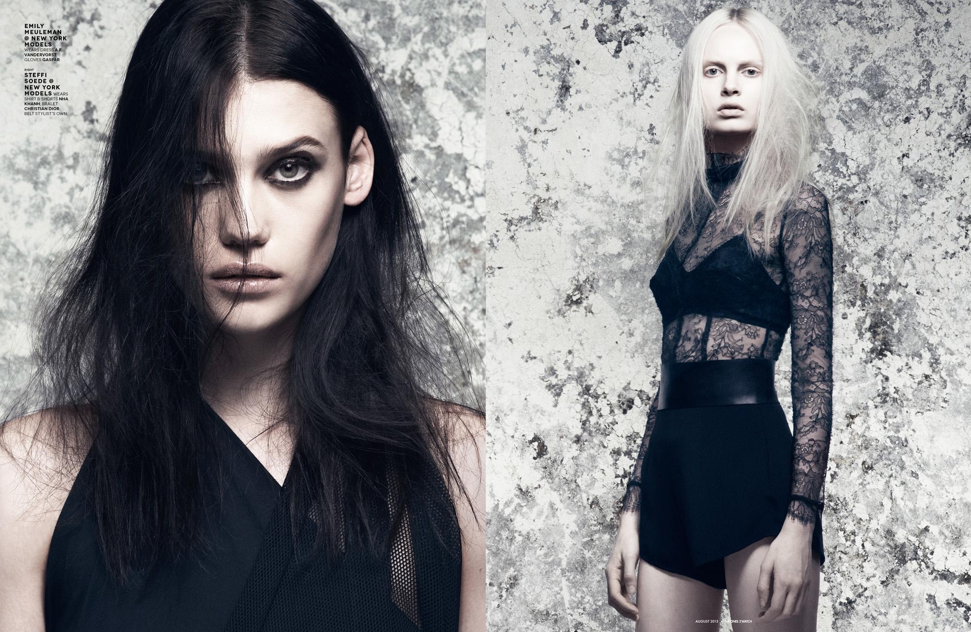 Emily Meuleman @ New York Models wears dress A.F. Vandervorst; gloves Gaspar.  Right: Steffi Soede @ New York Models wears shirt & shorts Nha Khanh; bralet Christian Dior; belt stylist's own.