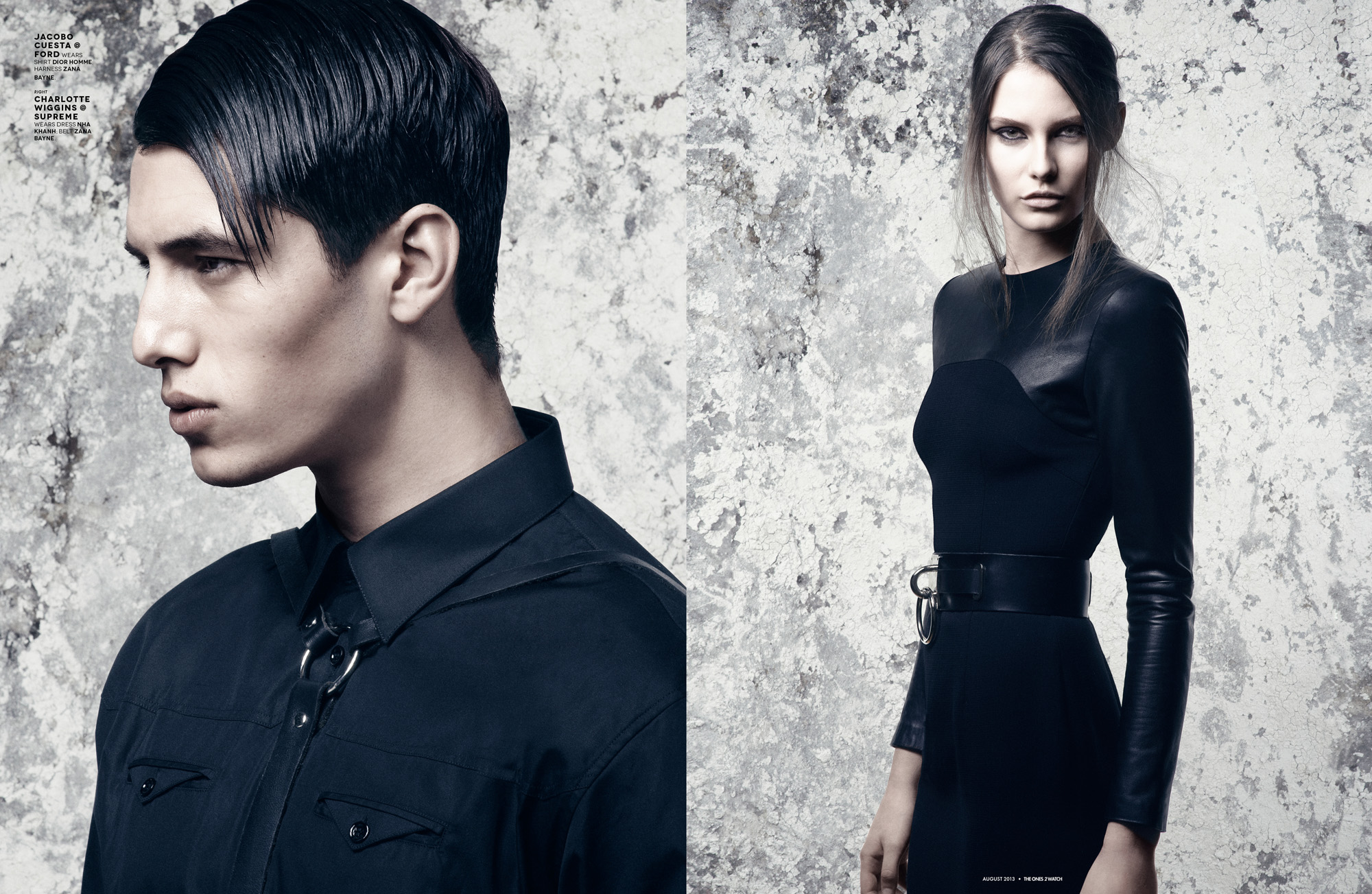 Charlotte Wiggins @ Supreme wears dress Nha Khanh; belt Zana Bayne.  Right: Jacobo Cuesta @ Ford wears shirt Dior Homme; harness Zana Bayne.