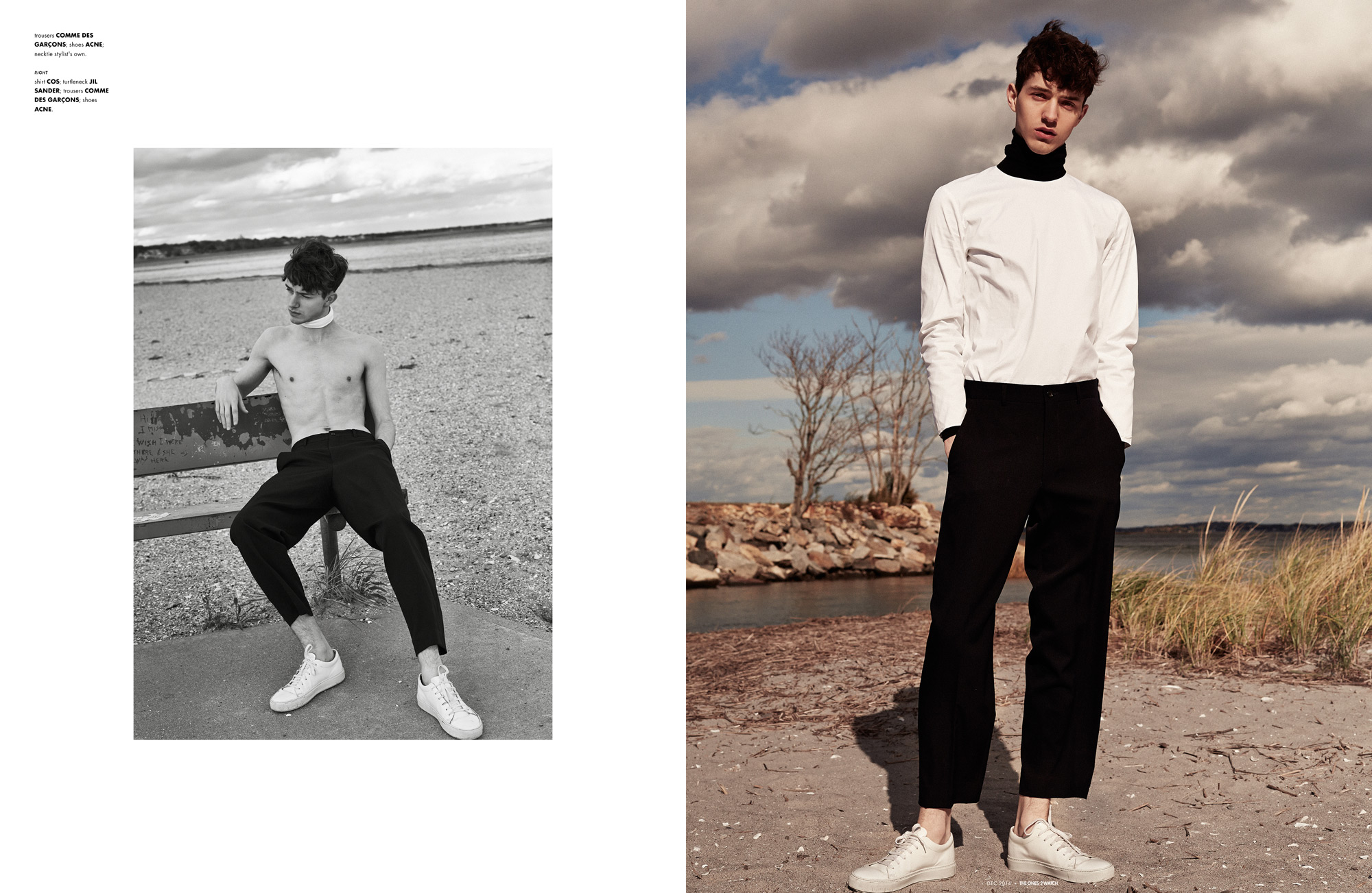 trousers COMME DES GARÇONS; shoes ACNE; necktie stylist's own. right: shirt COS; turtleneck JIL SANDER; trousers COMME DES GARÇONS; shoes ACNE.